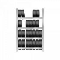 Reifenregal mit 4 Ebenen, Steckmontage, HxBxT 2500 x 1580 x 425 mm, verzinkt