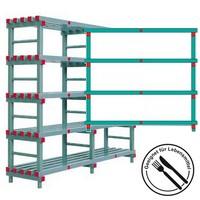 Kunststoffregal, Stecksystem, 4 Lagerebenen/Böden, HxBxT 1820 x 2000 x 600 mm