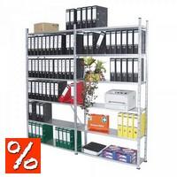 Ordnerregal, glanzverzinkt, HxBxT 2000 x 2020 x 330 mm, für bis zu 144 breite DIN A4-Ordner