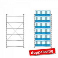 Ordnerregal, Stecksystem, doppelseitige Ausführung, HxBxT 2000 x 1070 x 630 mm (2x315 mm), 6 Regalböden