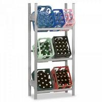 Regal für Getränkekisten, verzinkt, 3 Ebenen, für 9 Kästen (3x3), HxBxT 1750 x 1060 x 335 mm