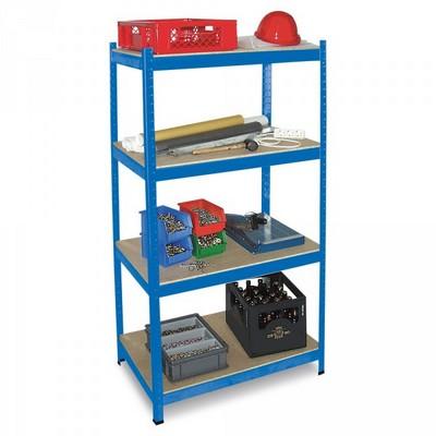 Schwerlastregal, Stecksystem, blau/kunststoffbeschichtet, 4 Böden