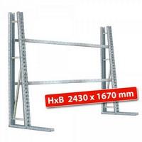 Vertikalregal, Stecksystem, doppelseitige Nutzung, HxBxT 2430 x 1670 x 1400 (2 x 700) mm, mit 4 Querträgern