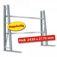 Vertikalregal, Stecksystem, doppelseitige Nutzung, HxBxT 2430 x 170 x 1400 (2 x 700) mm, mit 4 Querträgern