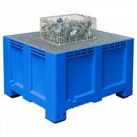 Abtropfbecken mit Gitterrost, 610 Liter Volumen, LxBxH 1200 x 1000 x760 mm, Polyethylen-Kunststoff (PE-HD), blau
