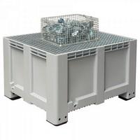 Abtropfbecken mit Gitterrost, 610 Liter Volumen, LxBxH 1200 x 1000 x760 mm