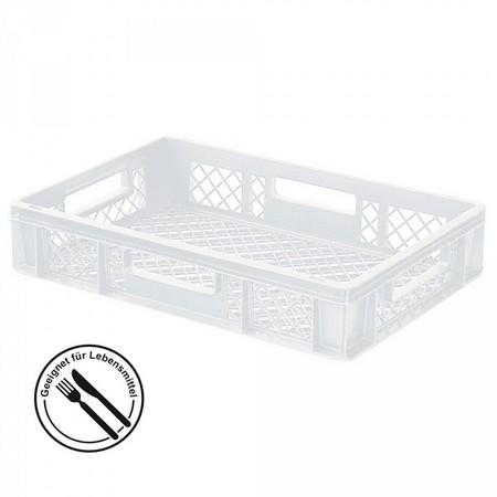 Bäckerkiste 600 x 400 x 120 mm, 23 Liter, weiß, 4 Durchfaßgriffe