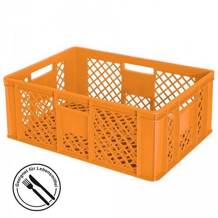 Bäckerkiste 600 x 400 x 240 mm, 43 Liter, orange, 4 Durchfaßgriffe