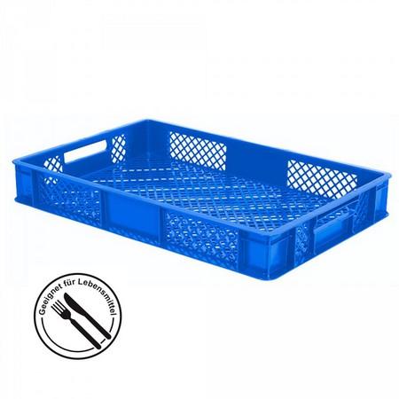 Bäckerkiste 600 x 400 x 90 mm, 15 Liter, blau, Durchfaßgriffe