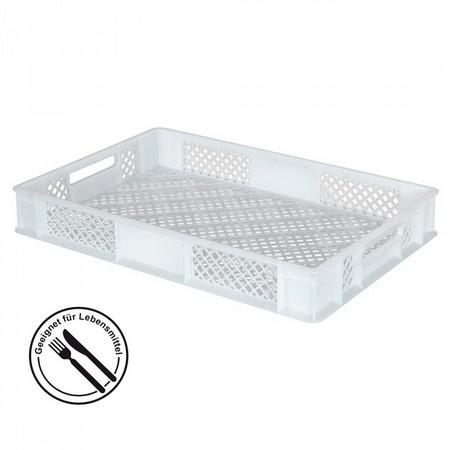 Bäckerkiste 600 x 400 x 90 mm, 15 Liter, weiß, Durchfaßgriffe