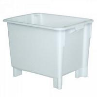 Drehstapelbehälter im Euro-Format, Boden und Wände geschlossen, 800 x 600 x 600 mm, Inhalt 170 Liter, Farbe: weiß