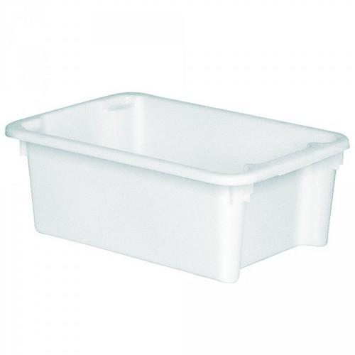 Drehstapelbehälter im Euro-Format, Boden und Wände geschlossen,600 x 400 x 220 mm, Inhalt 30 Liter, Farbe: weiß