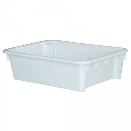 Drehstapelbehälter im Euro-Format, Boden und Wände geschlossen, 800 x 600 x 220 mm, Inhalt 80 Liter, Farbe: weiß