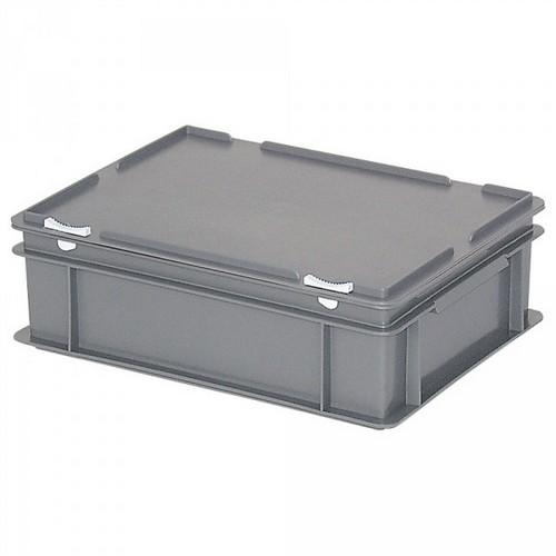 Versandbehälter mit Deckel, Euro-Format, 400 x 300 x 130 mm, 11 Liter, grau