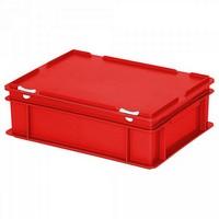 Versandbehälter mit Deckel, Euro-Format, 400 x 300 x 130 mm, 11 Liter, rot