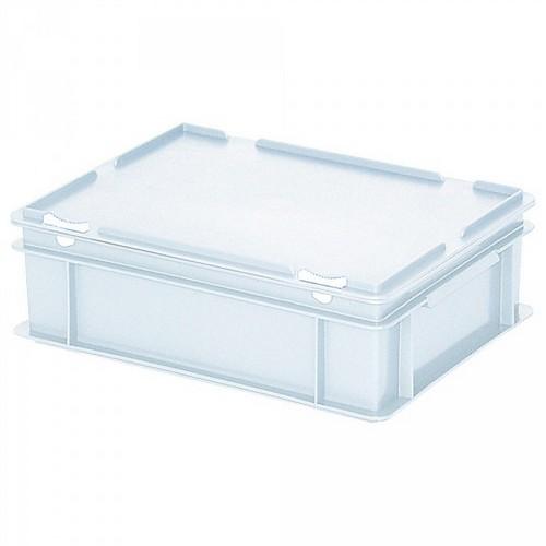Versandbehälter mit Deckel, Euro-Format, 400 x 300 x 130 mm, 11 Liter, weiß