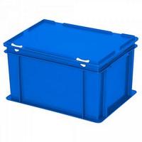 Versandbehälter mit Deckel, Euro-Format, 400 x 300 x 230 mm, 21 Liter, blau