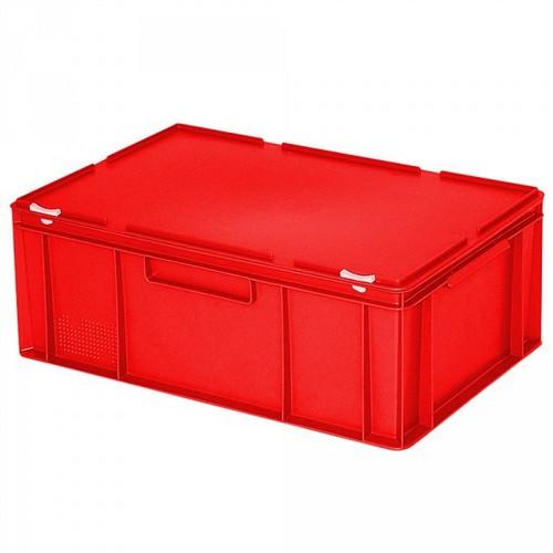 Versandbehälter mit Deckel, Euro-Format, 600 x 400 x 230 mm, 43 Liter, rot