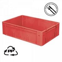 Eurobehälter EC64175SCG, Polypropylen-Kunststoff (PP), geschlossen, rollenbahngeeignet, für schwere Lasten, LxBxH 600 x 400 x 175 mm, 31 Liter, rot