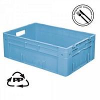 Eurobehälter EC64210SC, Polypropylen-Kunststoff (PP), geschlossen, rollenbahngeeignet, für schwere Lasten, LxBxH 600 x 400 x 210 mm, 38 Liter, blau