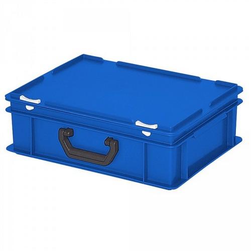 Euro-Koffer,stapelbar, LxBxH 400 x 300 x 130 mm, 11 Liter blau, 1 Tragegriff