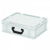 Euro-Koffer,stapelbar, LxBxH 400 x 300 x 130 mm, 11 Liter weiß, 1 Tragegriff