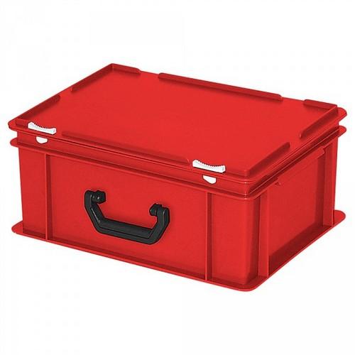 Euro-Koffer, stapelbar, LxBxH 400 x 300 x 180 mm, 16 Liter, rot, 1 Tragegriff