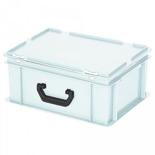 Euro-Koffer, stapelbar, LxBxH 400 x 300 x 180 mm, 16 Liter, weiß, 1 Tragegriff