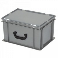 Euro-Koffer, stapelbar, LxBxH 400 x 300 x 230 mm, 21 Liter, grau, 1 Tragegriff