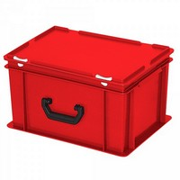 Euro-Koffer, stapelbar, LxBxH 400 x 300 x 230 mm, 21 Liter, rot, 1 Tragegriff