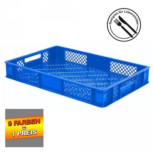 Eurobehälter durchbrochen EC64090PC, 4 Durchfaßgriffe, LxBxH 600 x 400 x 90 mm, 15 Liter, blau