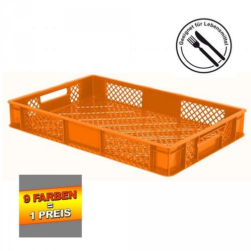 Eurobehälter durchbrochen EC64090PC, 4 Durchfaßgriffe, LxBxH 600 x 400 x 90 mm, 15 Liter, orange