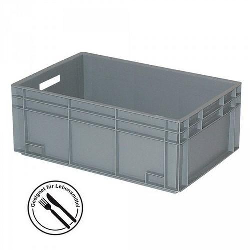 Eurobehälter EC64170SC, geschlossen, glatter Boden, LxBxH 600 x 400 x 235 mm, 45 Liter, grau