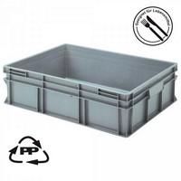Eurobehälter EC86220SCG, geschlossen, Griffleisten, Polypropylen-Kunststoff (PP), lebensmittelecht, LxBxH 800 x 600 x 220 mm, 87 Liter, grau