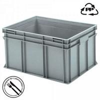 Eurobehälter EC86420SCG, geschlossen, Griffleisten, Polypropylen-Kunststoff (PP), lebensmittelecht, LxBxH 800 x 600 x 420 mm, 175 Liter, grau