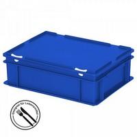 Eurobehälter mit Scharnierdeckel, LxBxH 400 x 300 x 130 mm, 11 Liter, blau
