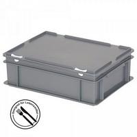Eurobehälter mit Scharnierdeckel, LxBxH 400 x 300 x 130 mm, 11 Liter, grau
