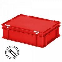 Eurobehälter mit Scharnierdeckel, LxBxH 400 x 300 x 130 mm, 11 Liter, rot