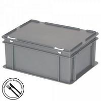 Eurobehälter mit Scharnierdeckel, LxBxH 400 x 300 x 180 mm, 16 Liter, grau
