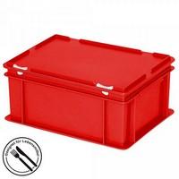 Eurobehälter mit Scharnierdeckel, LxBxH 400 x 300 x 180 mm, 16 Liter, rot