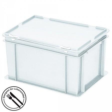 Eurobehälter mit Scharnierdeckel, LxBxH 400 x 300 x 180 mm, 16 Liter, weiß