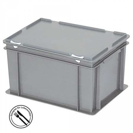 Eurobehälter mit Scharnierdeckel, LxBxH 400 x 300 x 230 mm, 21 Liter, grau