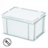 Eurobehälter mit Scharnierdeckel, LxBxH 400 x 300 x 230 mm, 21 Liter, weiß