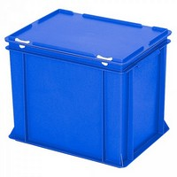 Eurobehälter mit Scharnierdeckel, LxBxH 400 x 300 x 330 mm, 31 Liter, blau