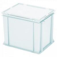 Eurobehälter mit Scharnierdeckel, LxBxH 400 x 300 x 330 mm, 31 Liter, weiß