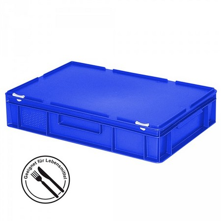 Eurobehälter mit Scharnierdeckel, LxBxH 600 x 400 x 130 mm, 23 Liter, blau