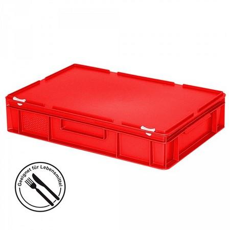 Eurobehälter mit Scharnierdeckel, LxBxH 600 x 400 x 130 mm, 23 Liter, rot
