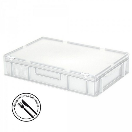 Eurobehälter mit Scharnierdeckel, LxBxH 600 x 400 x 130 mm, 23 Liter, weiß