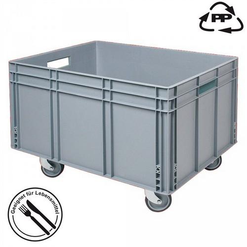 Eurobehälter EC86420SCG, geschlossen, 4 Lenkrollen, Durchfaßgriffe, lebensmittelecht, LxBxH 800 x 600 x 420/545 mm, 175 Liter, grau
