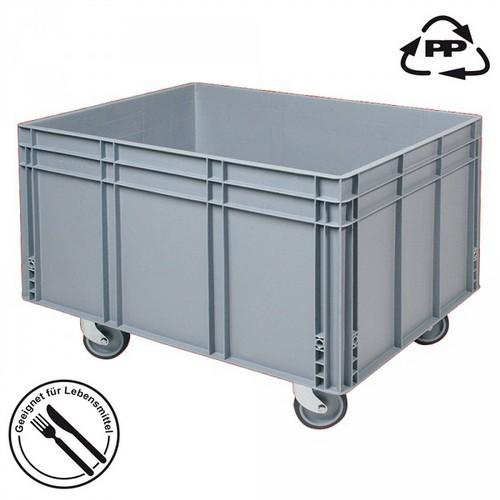 Eurobehälter EC86420SCG, geschlossen, 4 Lenkrollen, lebensmittelecht, LxBxH 800 x 600 x 420/545 mm, 175 Liter, grau